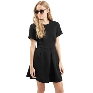 Topshop Textured Black Box Pleated Skater Dress